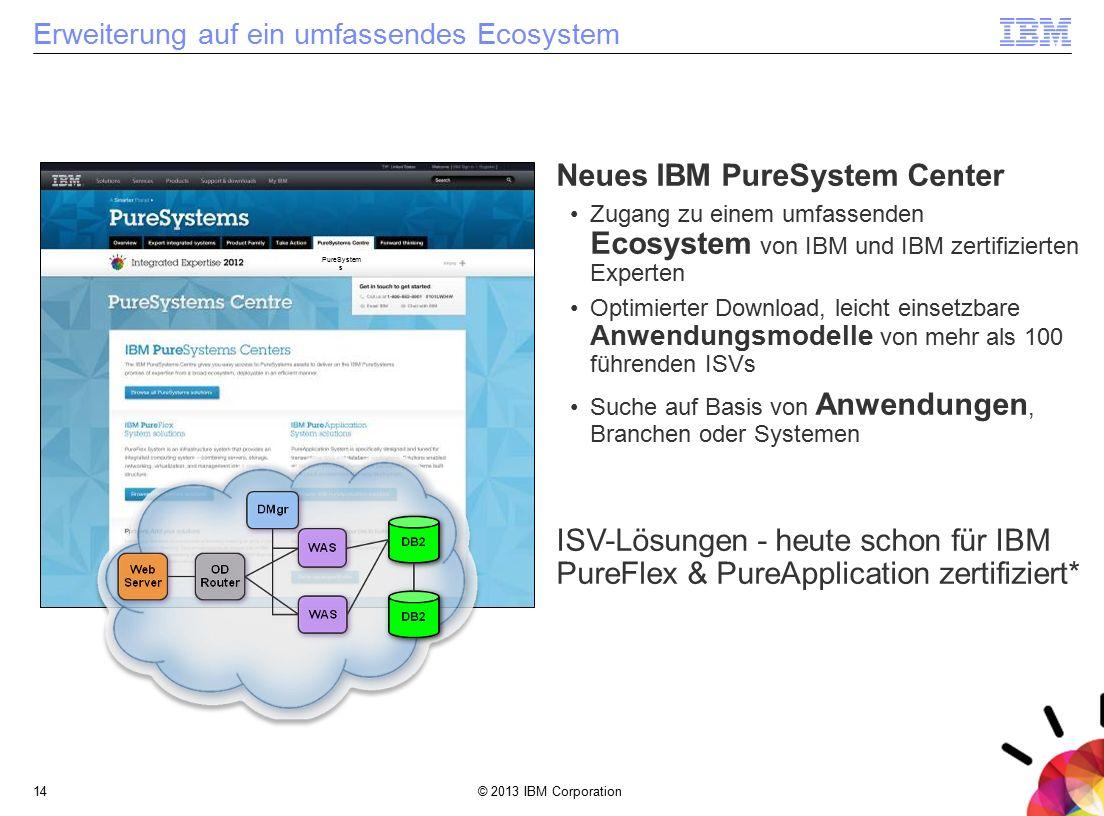 © 2013 IBM Corporation14 Erweiterung auf ein umfassendes Ecosystem PureSystem s Neues IBM PureSystem Center Zugang zu einem umfassenden Ecosystem von IBM und IBM zertifizierten Experten Optimierter Download, leicht einsetzbare Anwendungsmodelle von mehr als 100 führenden ISVs Suche auf Basis von Anwendungen, Branchen oder Systemen ISV-Lösungen - heute schon für IBM PureFlex & PureApplication zertifiziert*