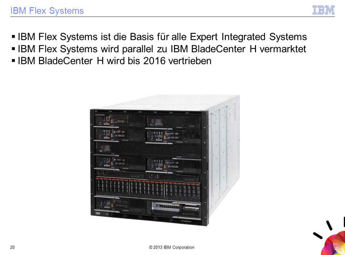 © 2013 IBM Corporation20 IBM Flex Systems  IBM Flex Systems ist die Basis für alle Expert Integrated Systems  IBM Flex Systems wird parallel zu IBM
