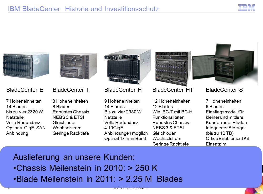 © 2013 IBM Corporation4 IBM BladeCenter Historie und Investitionsschutz 2002 BladeCenter E 7 Höheneinheiten 14 Blades bis zu vier 2320 W Netzteile Vol