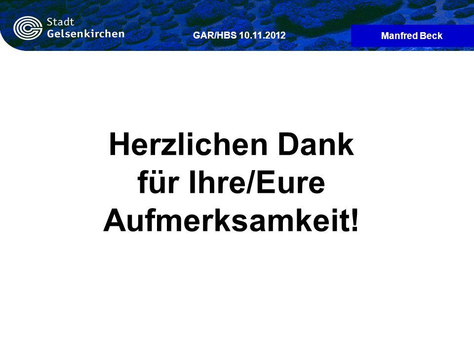 Manfred Beck GAR/HBS 10.11.2012 Herzlichen Dank für Ihre/Eure Aufmerksamkeit!