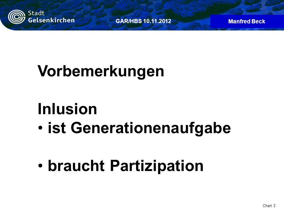 Manfred Beck Chart 3 GAR/HBS 10.11.2012 Vorbemerkungen Inlusion ist Generationenaufgabe braucht Partizipation