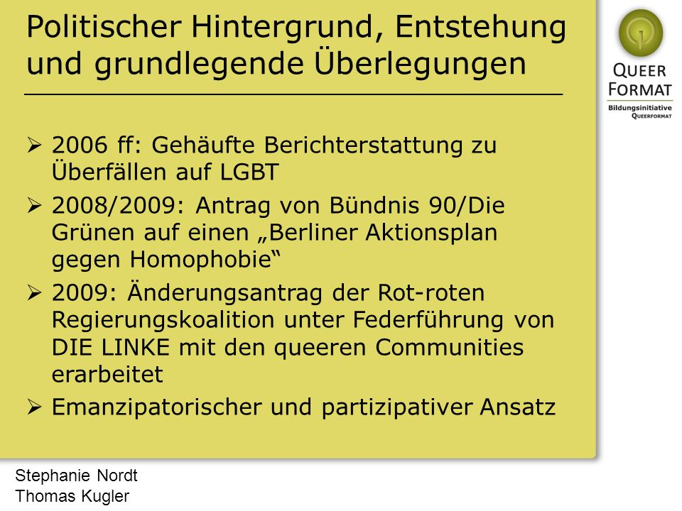 Stephanie Nordt Thomas Kugler Politischer Hintergrund, Entstehung und grundlegende Überlegungen  2006 ff: Gehäufte Berichterstattung zu Überfällen au
