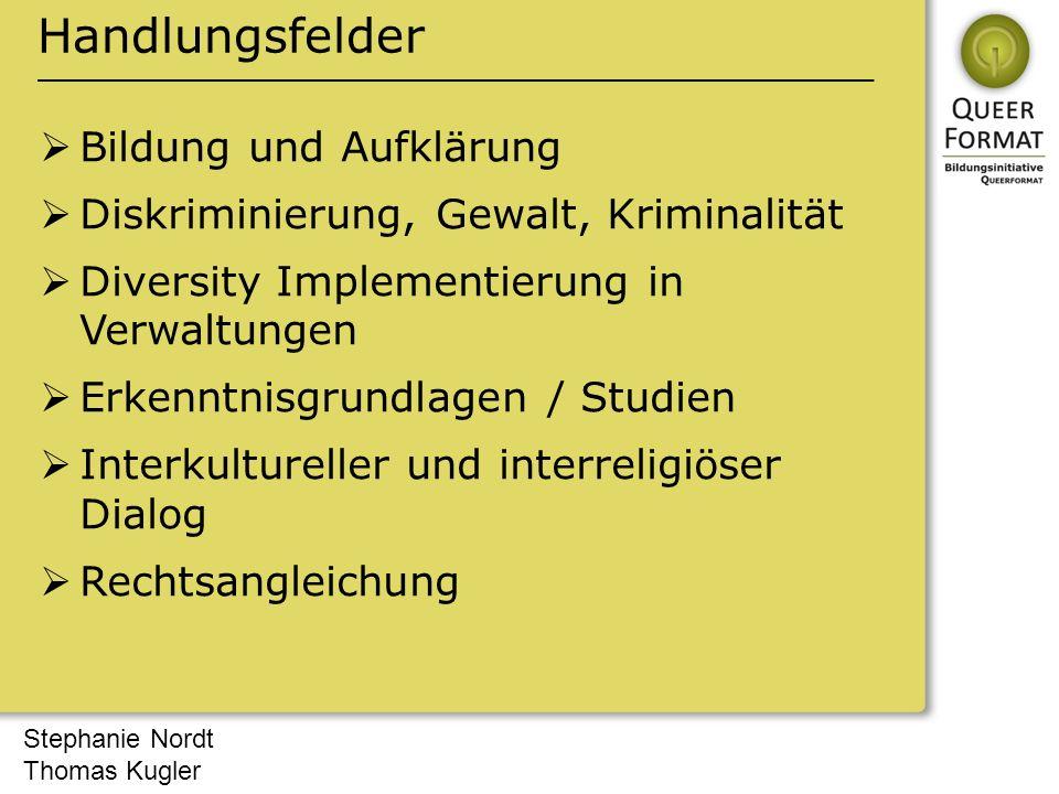 Stephanie Nordt Thomas Kugler Handlungsfelder  Bildung und Aufklärung  Diskriminierung, Gewalt, Kriminalität  Diversity Implementierung in Verwaltu