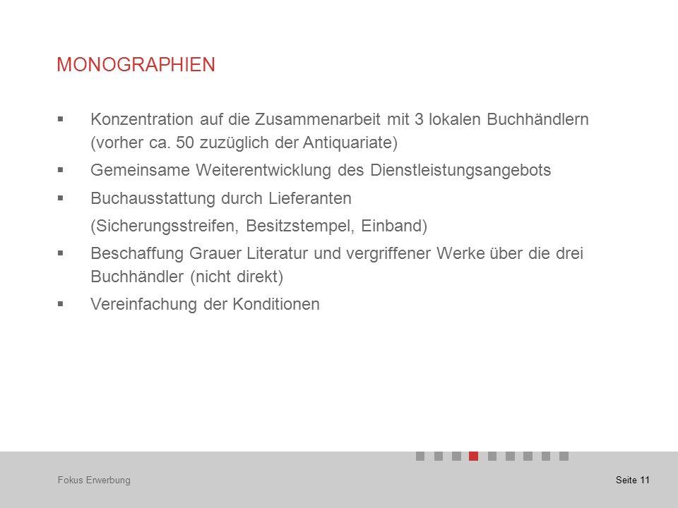 Seite 11 MONOGRAPHIEN Fokus Erwerbung  Konzentration auf die Zusammenarbeit mit 3 lokalen Buchhändlern (vorher ca.