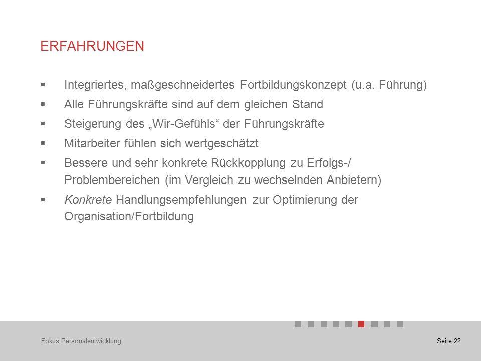 Seite 22 ERFAHRUNGEN Fokus Personalentwicklung  Integriertes, maßgeschneidertes Fortbildungskonzept (u.a.