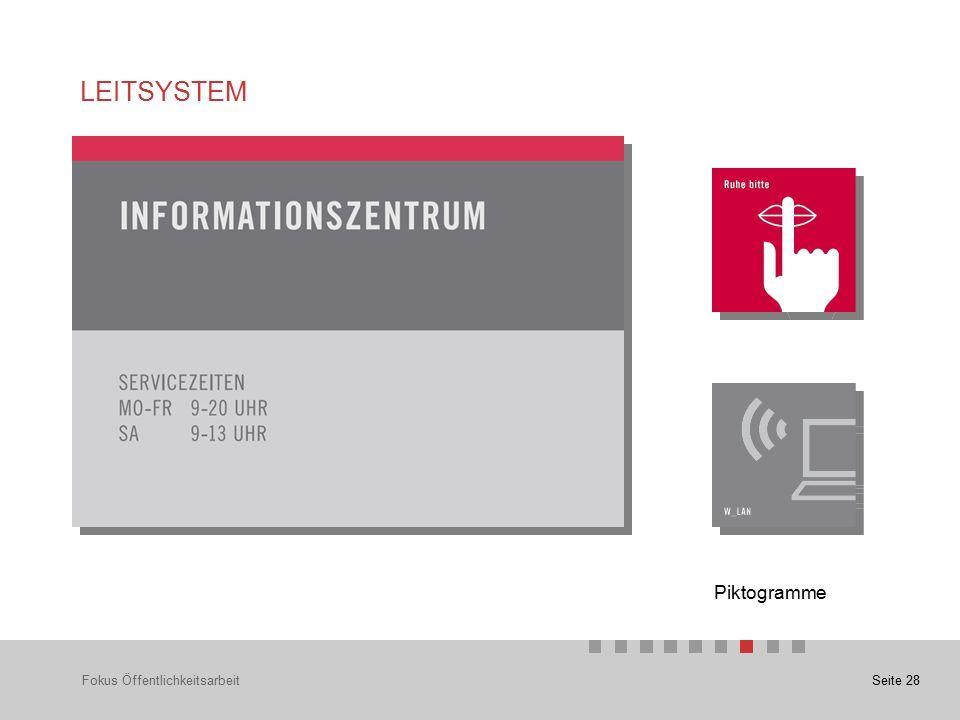 Seite 28 LEITSYSTEM Fokus Öffentlichkeitsarbeit Piktogramme