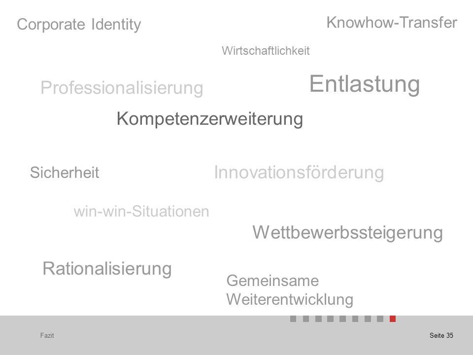 Seite 35Fazit Professionalisierung Wirtschaftlichkeit Rationalisierung win-win-Situationen Kompetenzerweiterung Sicherheit Wettbewerbssteigerung Entlastung Innovationsförderung Gemeinsame Weiterentwicklung Corporate Identity Knowhow-Transfer