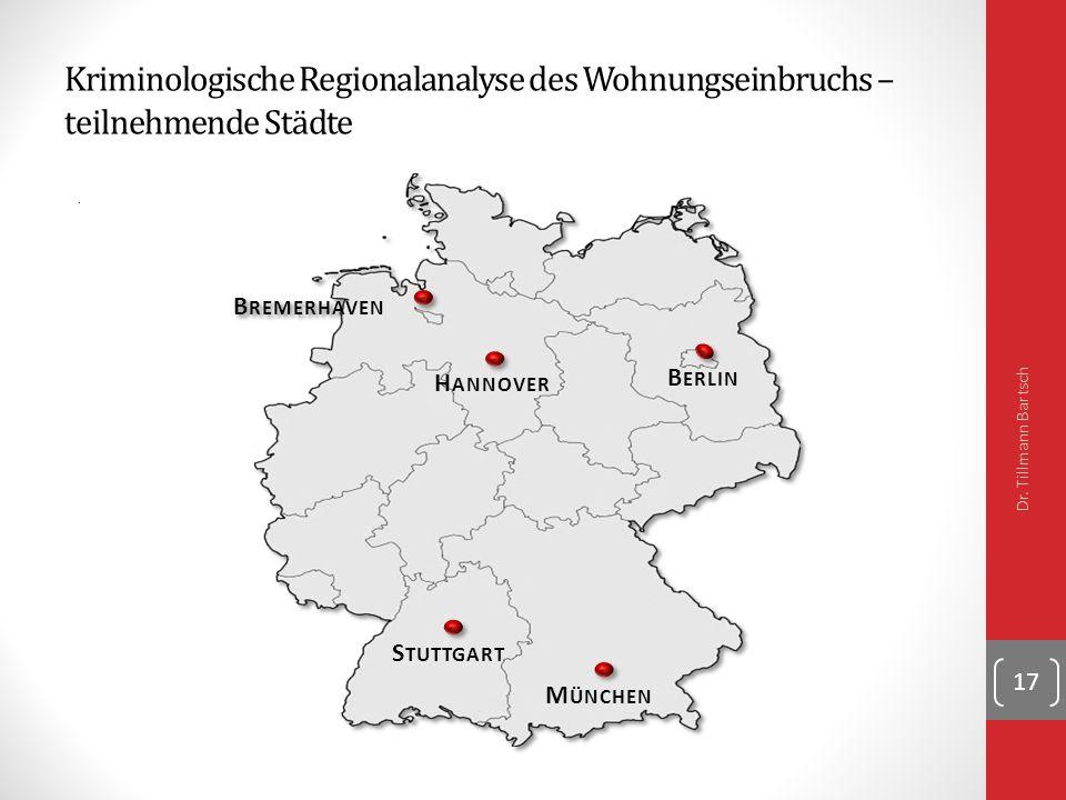 Kriminologische Regionalanalyse des Wohnungseinbruchs – teilnehmende Städte.