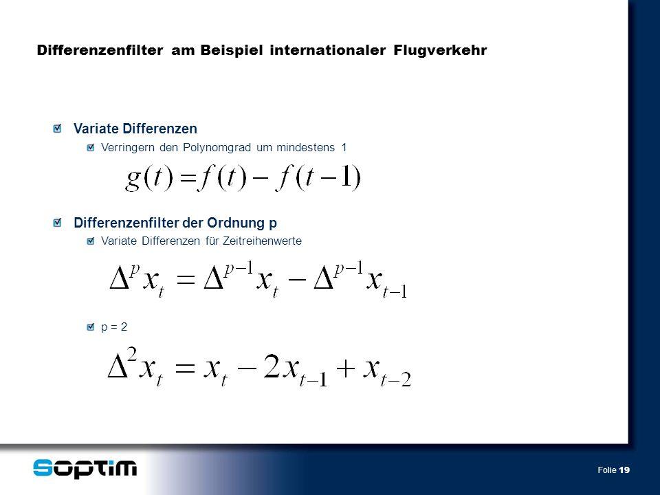Folie 19 Differenzenfilter am Beispiel internationaler Flugverkehr Variate Differenzen Verringern den Polynomgrad um mindestens 1 Differenzenfilter der Ordnung p Variate Differenzen für Zeitreihenwerte p = 2