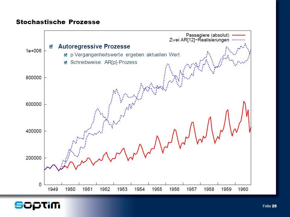 Folie 25 Autoregressive Prozesse p Vergangenheitswerte ergeben aktuellen Wert Schreibweise: AR[p]-Prozess Stochastische Prozesse