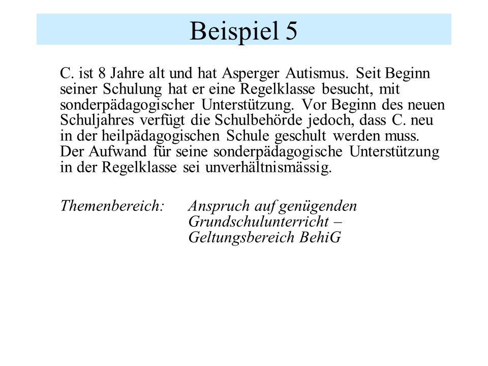 Beispiel 5 C. ist 8 Jahre alt und hat Asperger Autismus.