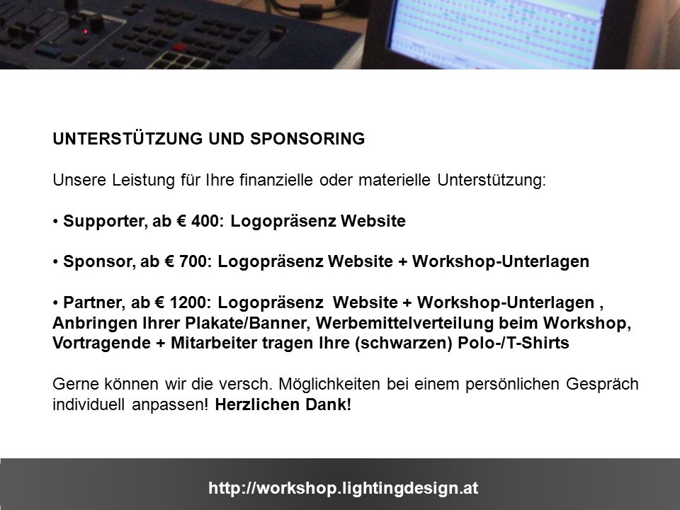 http://workshop.lightingdesign.at IMPRESSIONEN