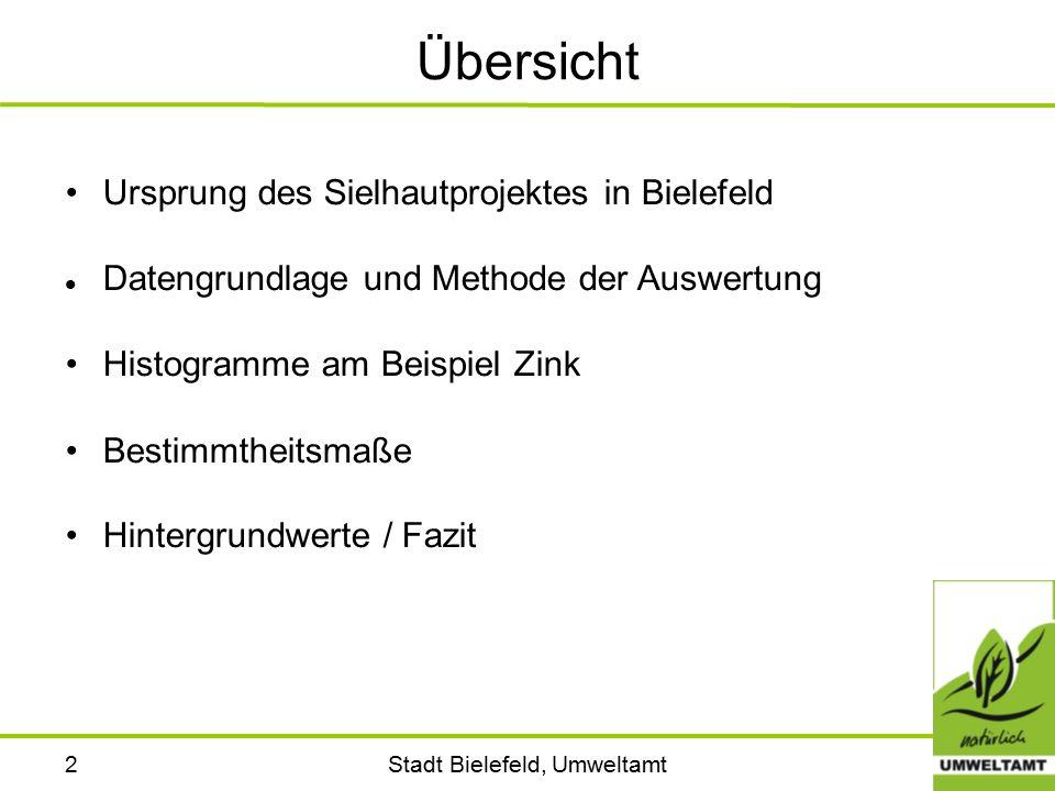 Stadt Bielefeld, Umweltamt2 Übersicht Ursprung des Sielhautprojektes in Bielefeld Datengrundlage und Methode der Auswertung Histogramme am Beispiel Zink Bestimmtheitsmaße Hintergrundwerte / Fazit