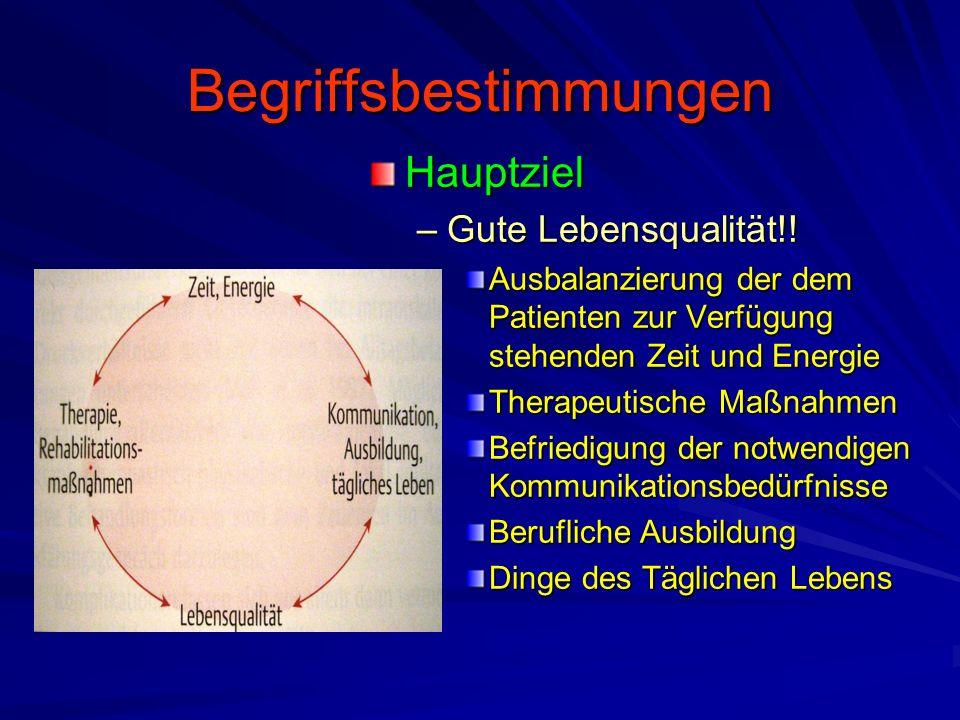 Begriffsbestimmungen Hauptziel –Gute Lebensqualität!.