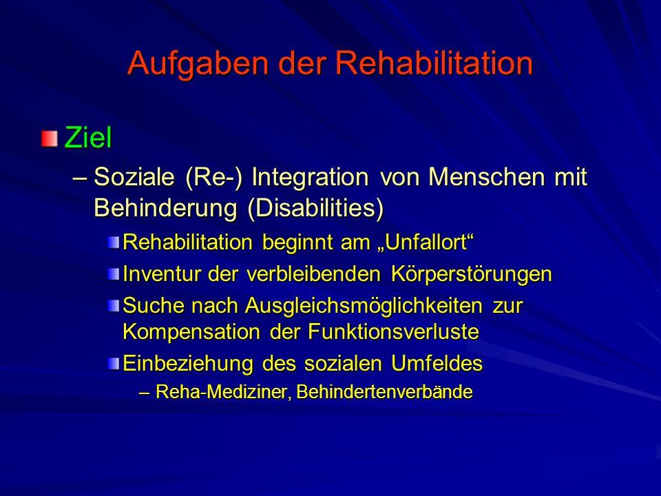 """Aufgaben der Rehabilitation Ziel –Soziale (Re-) Integration von Menschen mit Behinderung (Disabilities) Rehabilitation beginnt am """"Unfallort"""" Inventur"""