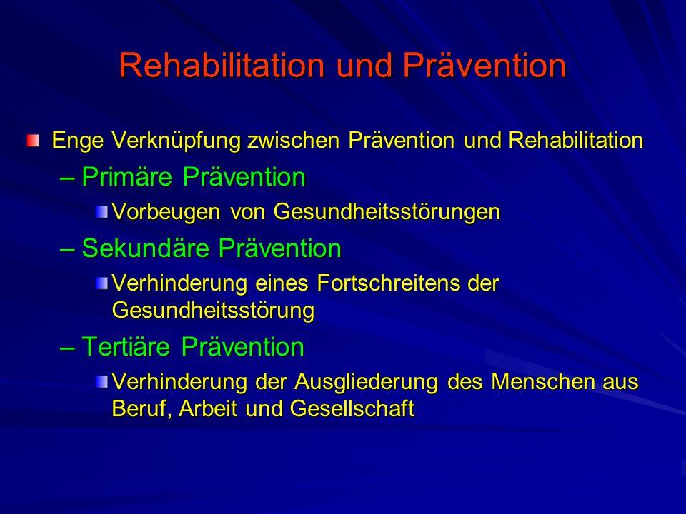 Rehabilitation und Prävention Enge Verknüpfung zwischen Prävention und Rehabilitation –Primäre Prävention Vorbeugen von Gesundheitsstörungen –Sekundäre Prävention Verhinderung eines Fortschreitens der Gesundheitsstörung –Tertiäre Prävention Verhinderung der Ausgliederung des Menschen aus Beruf, Arbeit und Gesellschaft