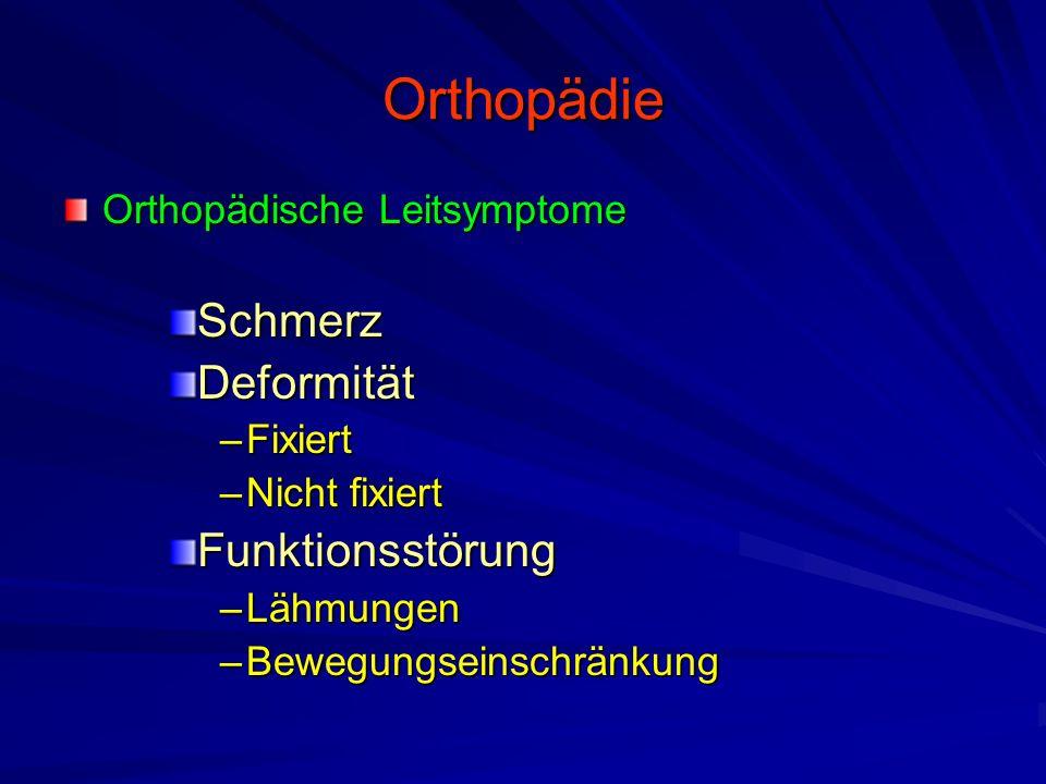 Orthopädie Orthopädische Leitsymptome SchmerzDeformität –Fixiert –Nicht fixiert Funktionsstörung –Lähmungen –Bewegungseinschränkung