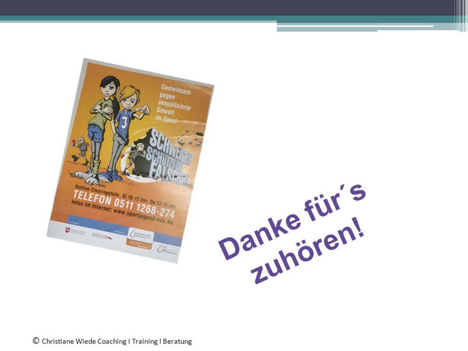 Danke für´s zuhören! © Christiane Wiede Coaching I Training I Beratung