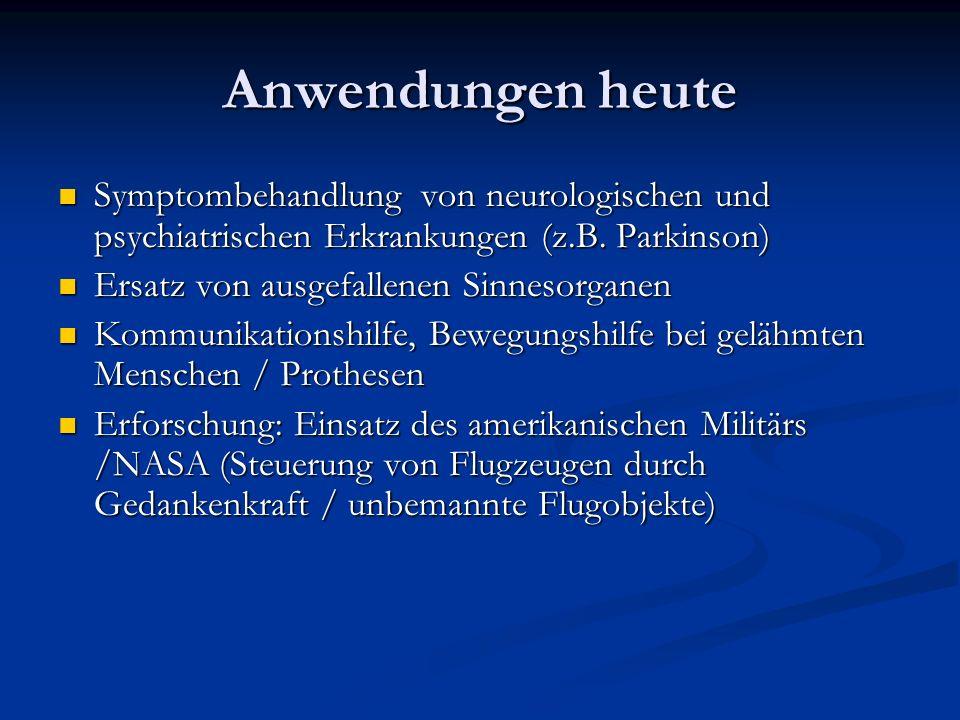 Anwendungen heute Symptombehandlung von neurologischen und psychiatrischen Erkrankungen (z.B.