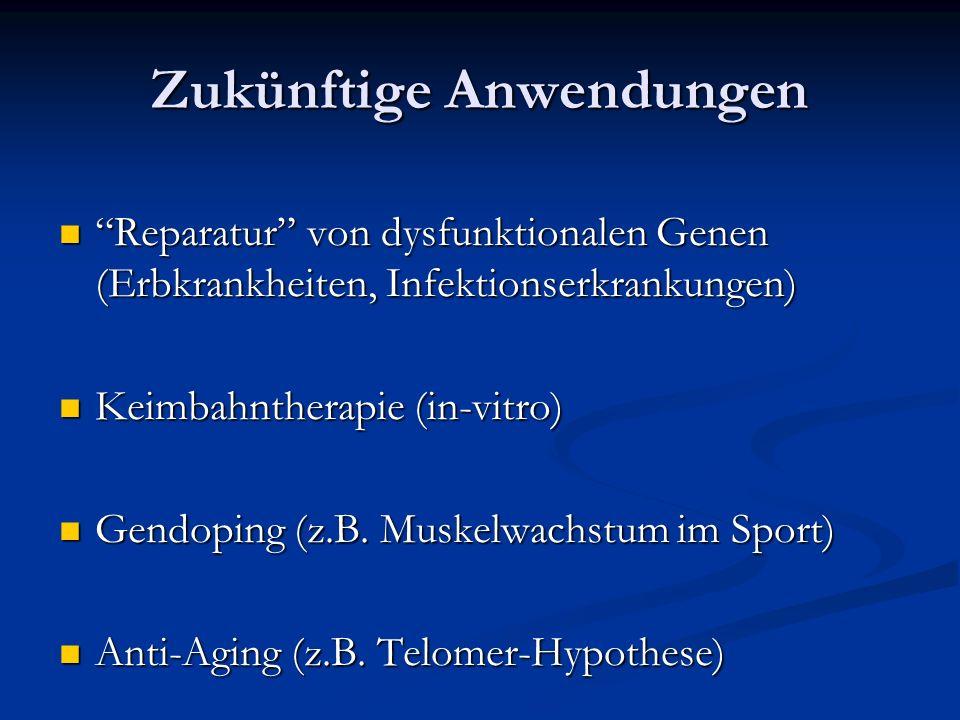 Zukünftige Anwendungen Reparatur von dysfunktionalen Genen (Erbkrankheiten, Infektionserkrankungen) Reparatur von dysfunktionalen Genen (Erbkrankheiten, Infektionserkrankungen) Keimbahntherapie (in-vitro) Keimbahntherapie (in-vitro) Gendoping (z.B.