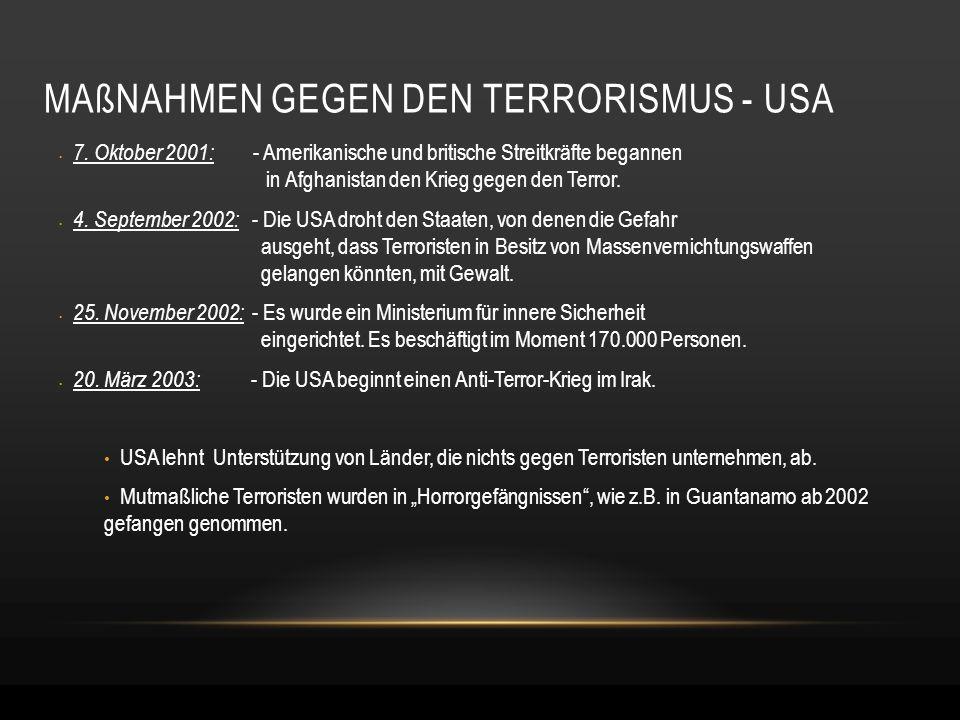 MAßNAHMEN GEGEN DEN TERRORISMUS - USA 7. Oktober 2001: - Amerikanische und britische Streitkräfte begannen in Afghanistan den Krieg gegen den Terror.