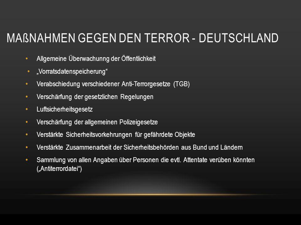 """MAßNAHMEN GEGEN DEN TERROR - DEUTSCHLAND Allgemeine Überwachunng der Öffentlichkeit """"Vorratsdatenspeicherung"""" Verabschiedung verschiedener Anti-Terror"""
