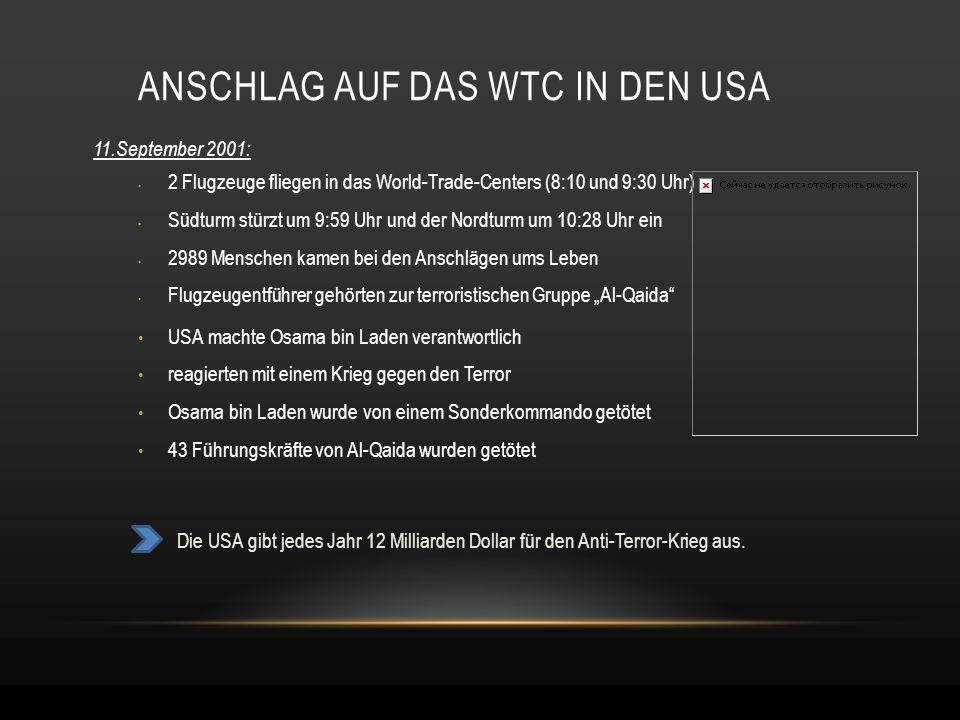 ANSCHLAG AUF DAS WTC IN DEN USA 11.September 2001: 2 Flugzeuge fliegen in das World-Trade-Centers (8:10 und 9:30 Uhr) Südturm stürzt um 9:59 Uhr und d