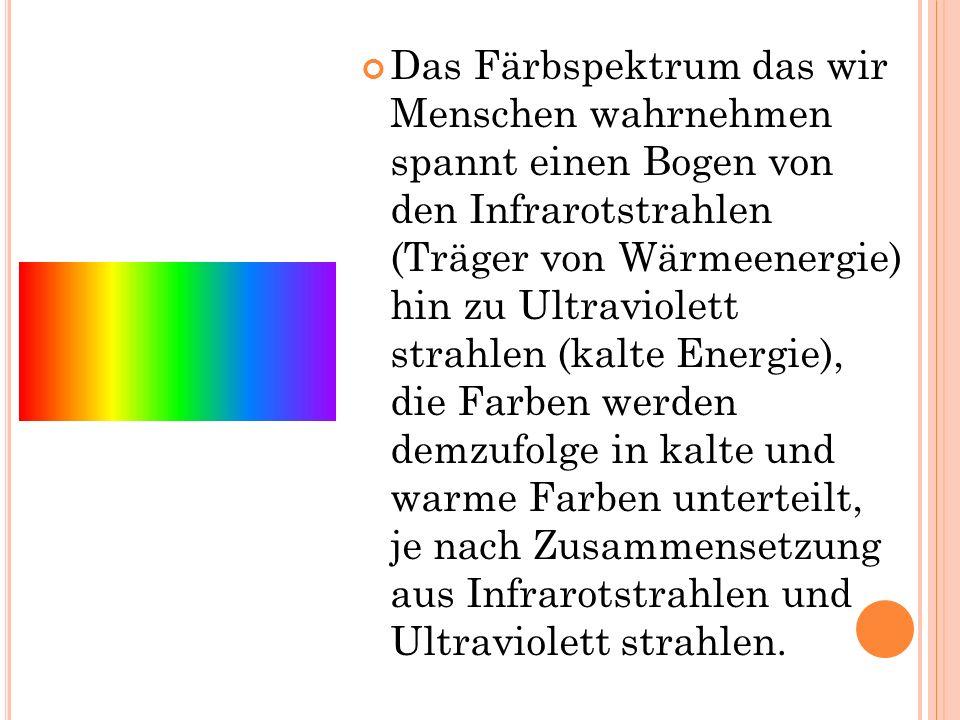 Das Färbspektrum das wir Menschen wahrnehmen spannt einen Bogen von den Infrarotstrahlen (Träger von Wärmeenergie) hin zu Ultraviolett strahlen (kalte Energie), die Farben werden demzufolge in kalte und warme Farben unterteilt, je nach Zusammensetzung aus Infrarotstrahlen und Ultraviolett strahlen.