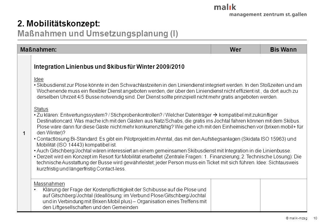 10© malik-mzsg Maßnahmen:WerBis Wann 1 Integration Linienbus und Skibus für Winter 2009/2010 Idee Skibusdienst zur Plose könnte in den Schwachlastzeiten in den Liniendienst integriert werden.