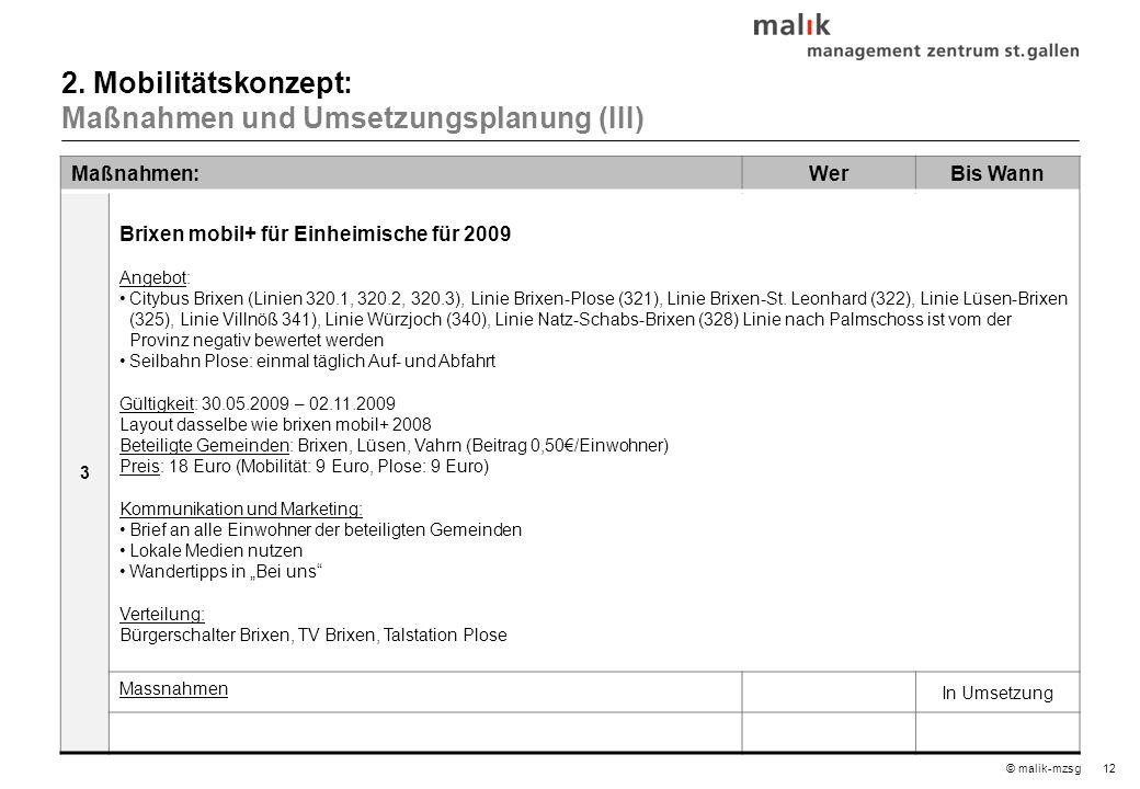 12© malik-mzsg Maßnahmen:WerBis Wann 3 Brixen mobil+ für Einheimische für 2009 Angebot: Citybus Brixen (Linien 320.1, 320.2, 320.3), Linie Brixen-Plose (321), Linie Brixen-St.