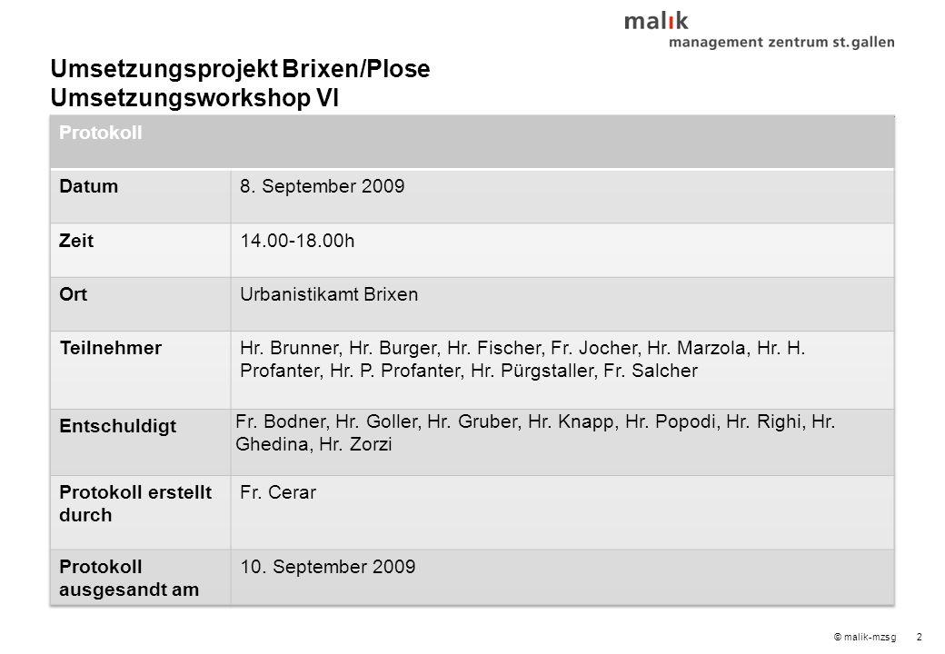 2© malik-mzsg Umsetzungsprojekt Brixen/Plose Umsetzungsworkshop VI