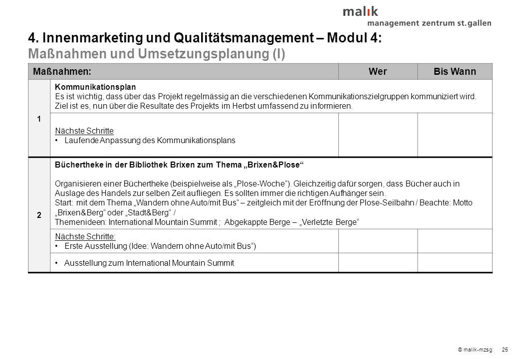 25© malik-mzsg Maßnahmen:WerBis Wann 1 Kommunikationsplan Es ist wichtig, dass über das Projekt regelmässig an die verschiedenen Kommunikationszielgruppen kommuniziert wird.