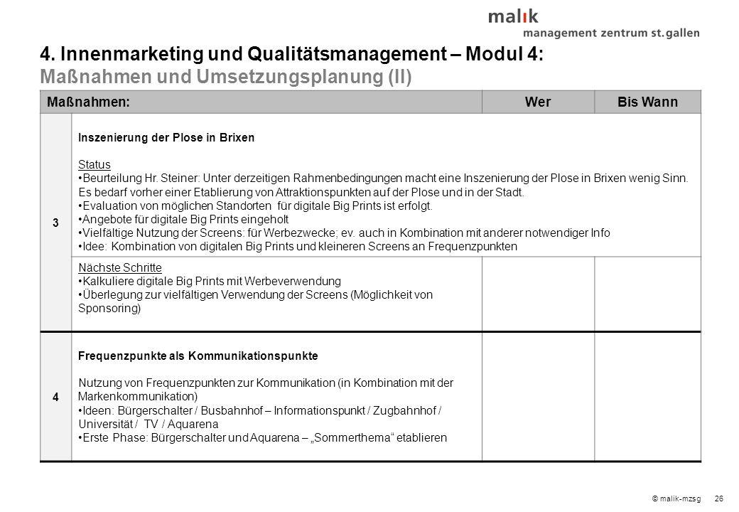 26© malik-mzsg Maßnahmen:WerBis Wann 3 Inszenierung der Plose in Brixen Status Beurteilung Hr.