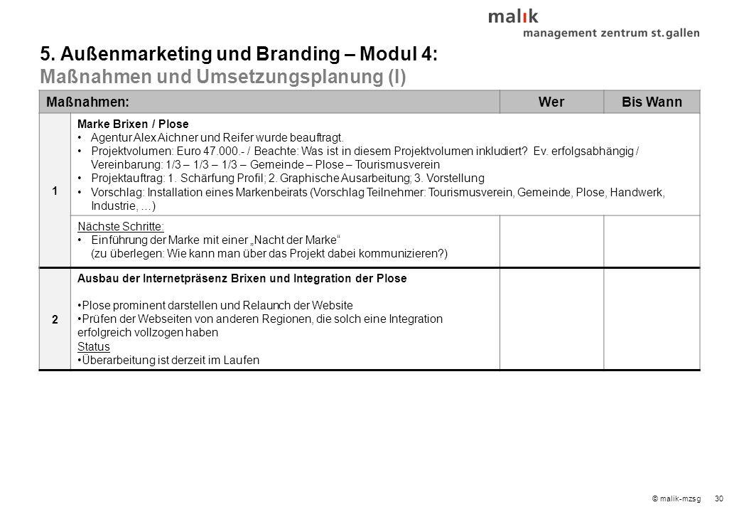 30© malik-mzsg Maßnahmen:WerBis Wann 1 Marke Brixen / Plose Agentur Alex Aichner und Reifer wurde beauftragt.