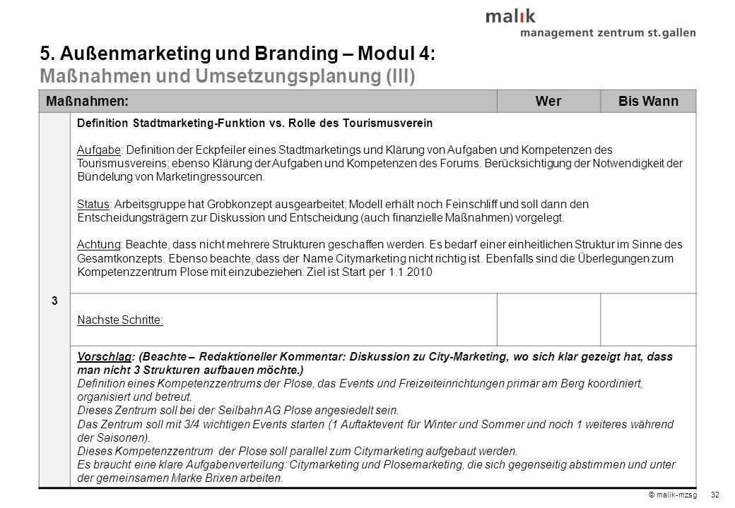 32© malik-mzsg Maßnahmen:WerBis Wann 3 Definition Stadtmarketing-Funktion vs.