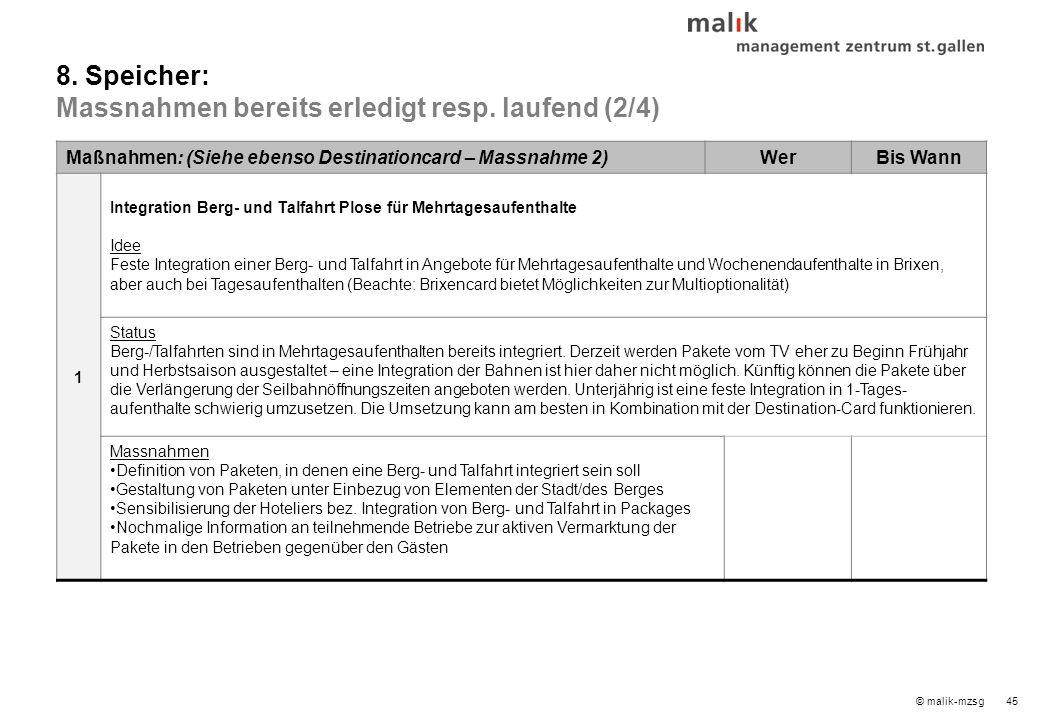 © malik-mzsg45 Maßnahmen: (Siehe ebenso Destinationcard – Massnahme 2)WerBis Wann 1 Integration Berg- und Talfahrt Plose für Mehrtagesaufenthalte Idee Feste Integration einer Berg- und Talfahrt in Angebote für Mehrtagesaufenthalte und Wochenendaufenthalte in Brixen, aber auch bei Tagesaufenthalten (Beachte: Brixencard bietet Möglichkeiten zur Multioptionalität) Status Berg-/Talfahrten sind in Mehrtagesaufenthalten bereits integriert.