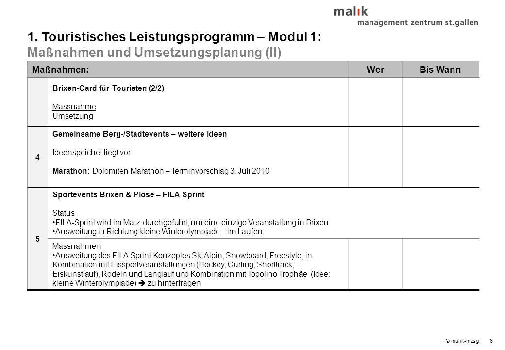 6© malik-mzsg Maßnahmen:WerBis Wann Brixen-Card für Touristen (2/2) Massnahme Umsetzung 4 Gemeinsame Berg-/Stadtevents – weitere Ideen Ideenspeicher liegt vor.