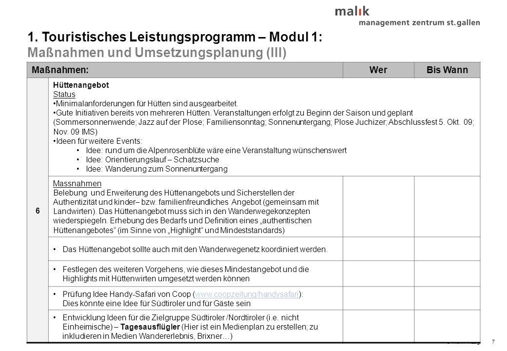 © malik-mzsg7 Maßnahmen:WerBis Wann 6 Hüttenangebot Status Minimalanforderungen für Hütten sind ausgearbeitet.