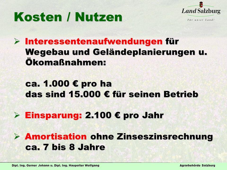 Dipl. Ing. Gerner Johann u. Dipl. Ing. Haupolter Wolfgang Agrarbehörde Salzburg Kosten / Nutzen  Interessentenaufwendungen für Wegebau und Geländepla