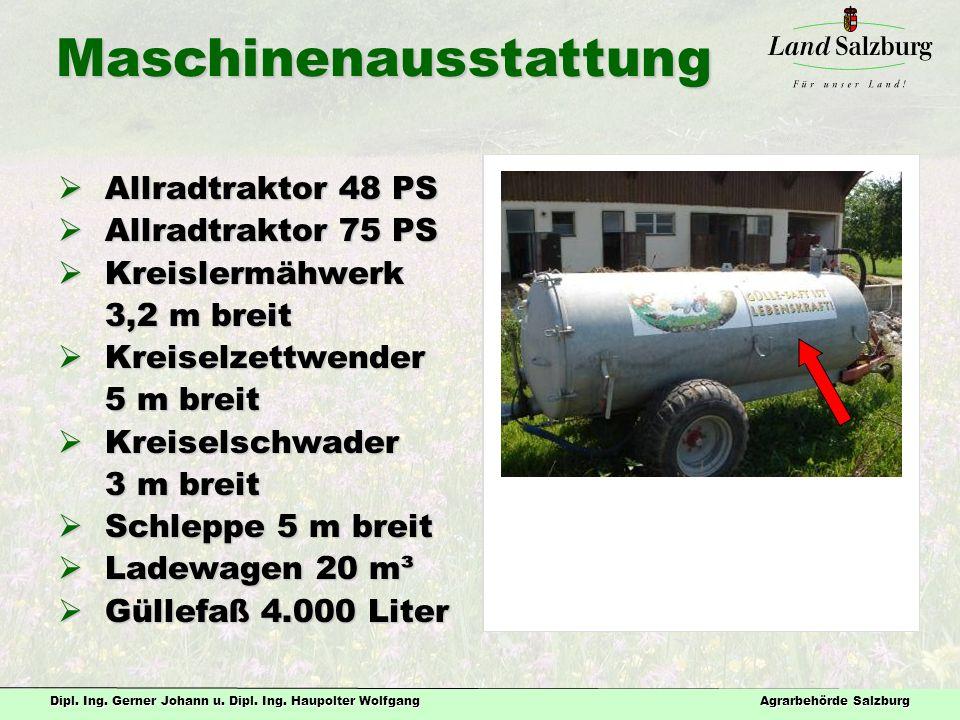 Maschinenausstattung  Allradtraktor 48 PS  Allradtraktor 75 PS  Kreislermähwerk 3,2 m breit 3,2 m breit  Kreiselzettwender 5 m breit 5 m breit  Kreiselschwader 3 m breit 3 m breit  Schleppe 5 m breit  Ladewagen 20 m³  Güllefaß 4.000 Liter