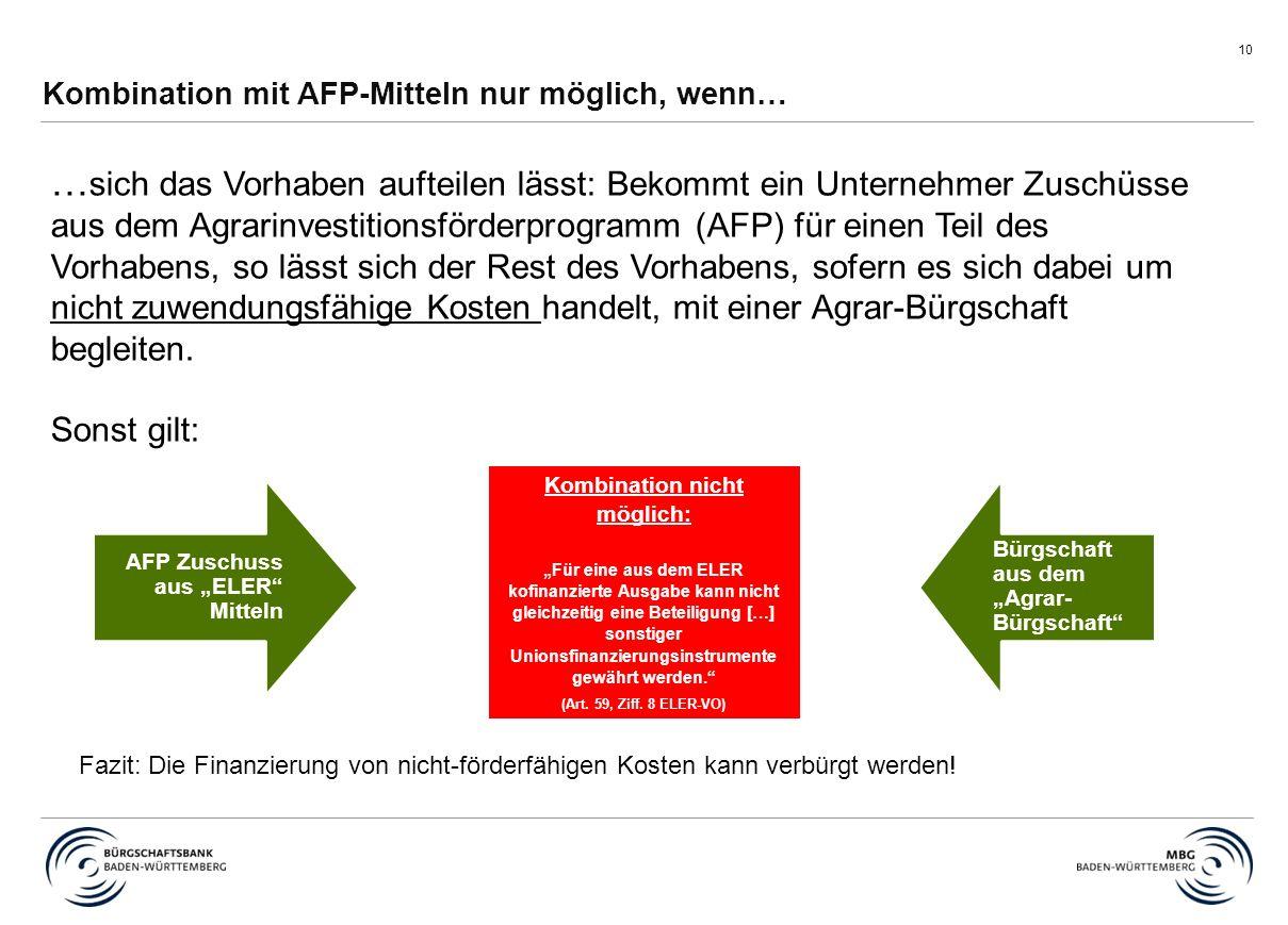 """10 Kombination mit AFP-Mitteln nur möglich, wenn… Fazit: Die Finanzierung von nicht-förderfähigen Kosten kann verbürgt werden! AFP Zuschuss aus """"ELER"""""""