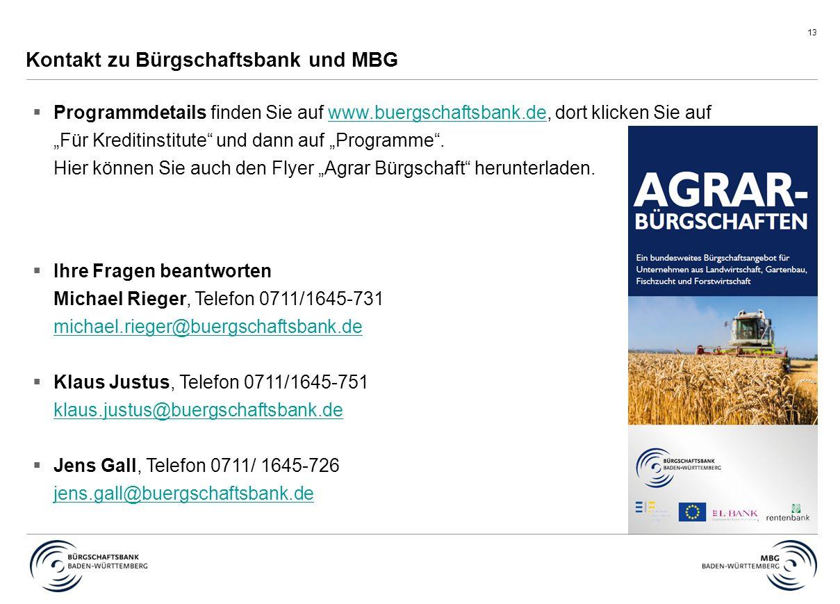 """13 Kontakt zu Bürgschaftsbank und MBG  Programmdetails finden Sie auf www.buergschaftsbank.de, dort klicken Sie auf """"Für Kreditinstitute und dann auf """"Programme ."""