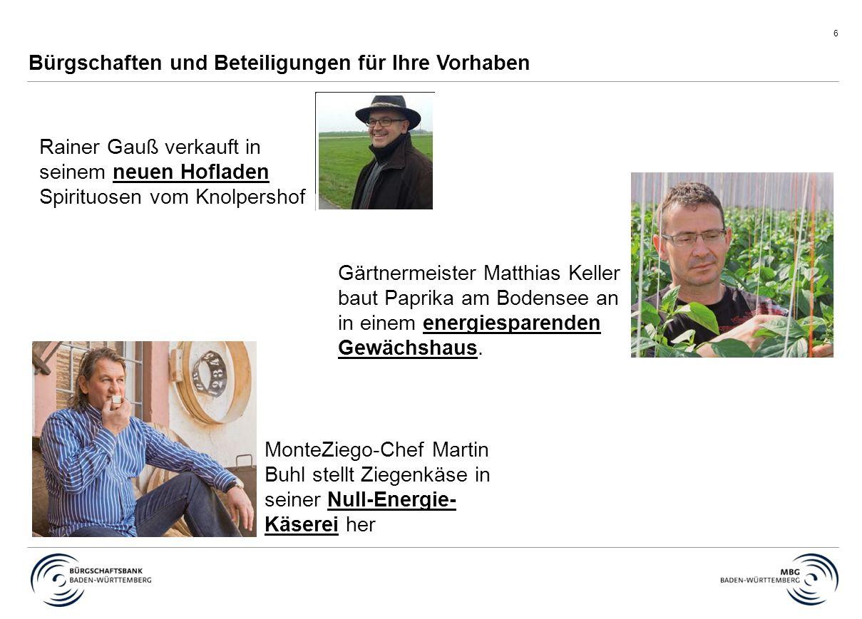 6 Bürgschaften und Beteiligungen für Ihre Vorhaben Rainer Gauß verkauft in seinem neuen Hofladen Spirituosen vom Knolpershof MonteZiego-Chef Martin Bu