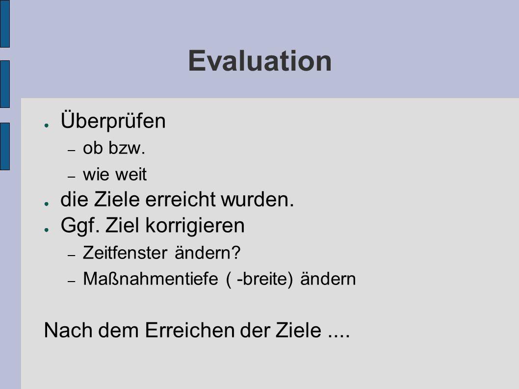 Evaluation ● Überprüfen – ob bzw. – wie weit ● die Ziele erreicht wurden.