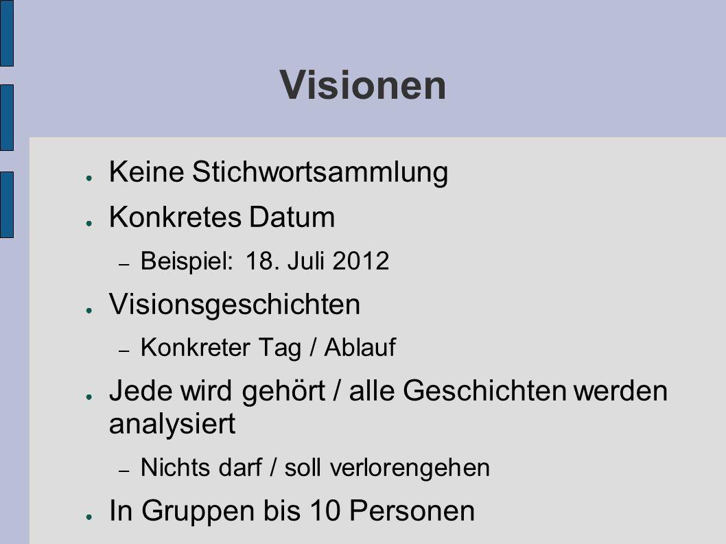 Visionen ● Keine Stichwortsammlung ● Konkretes Datum – Beispiel: 18.
