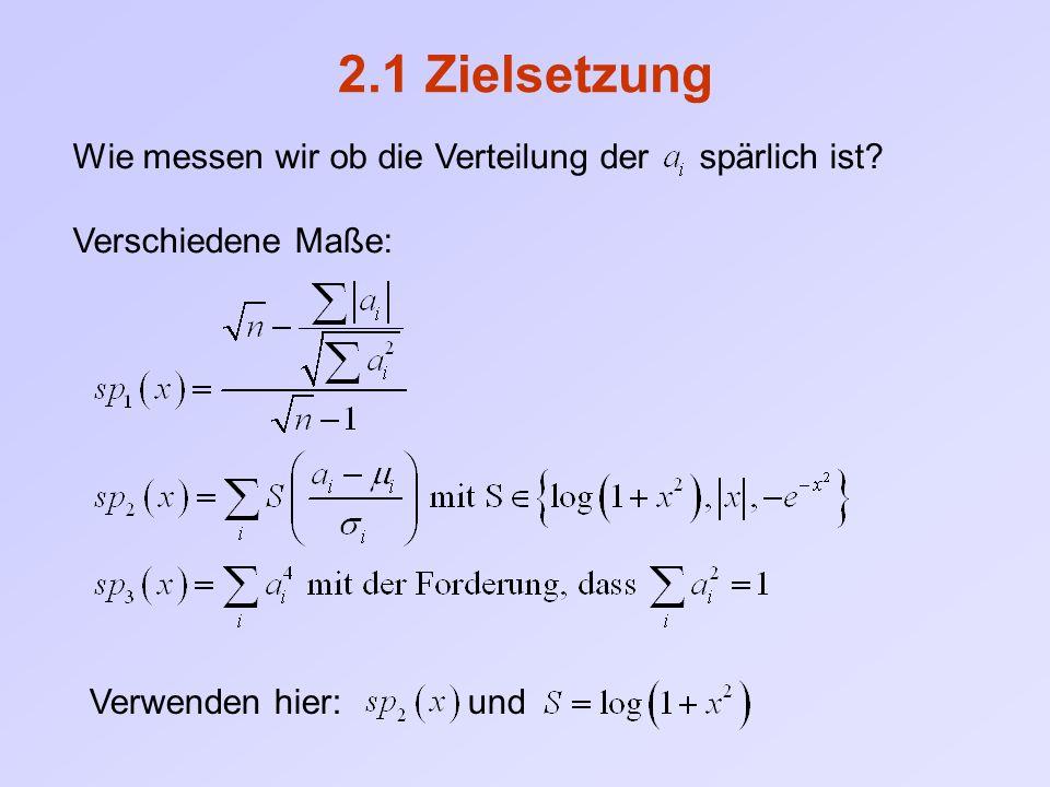 2.1 Zielsetzung Wie messen wir ob die Verteilung der spärlich ist? Verschiedene Maße: Verwenden hier: und