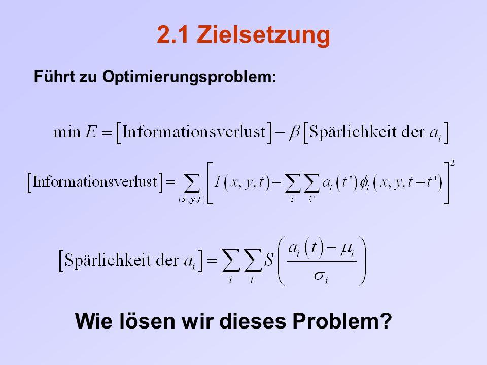 2.1 Zielsetzung Führt zu Optimierungsproblem: Wie lösen wir dieses Problem?