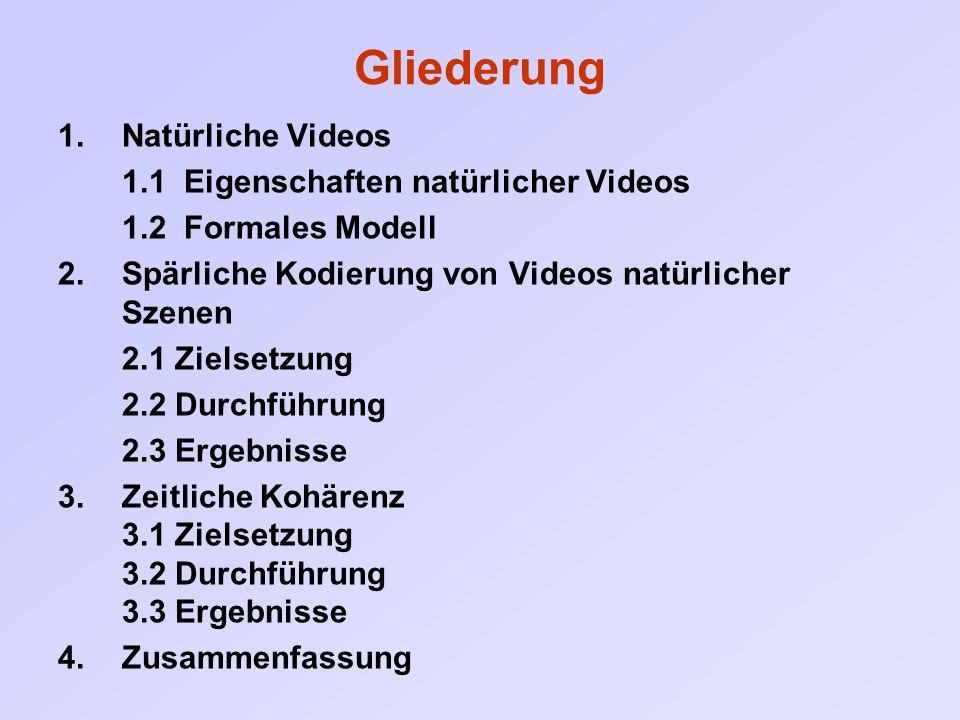 Gliederung 1.Natürliche Videos 1.1 Eigenschaften natürlicher Videos 1.2 Formales Modell 2.Spärliche Kodierung von Videos natürlicher Szenen 2.1 Zielse