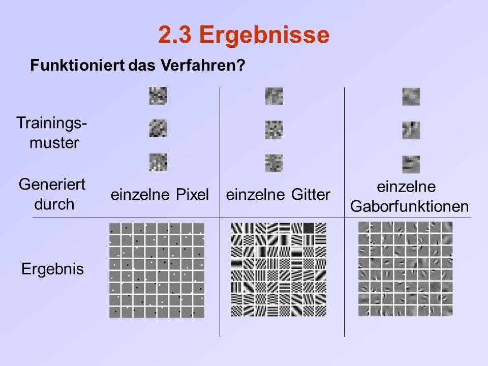 2.3 Ergebnisse Funktioniert das Verfahren? Trainings- muster Generiert durch Ergebnis einzelne Pixeleinzelne Gitter einzelne Gaborfunktionen