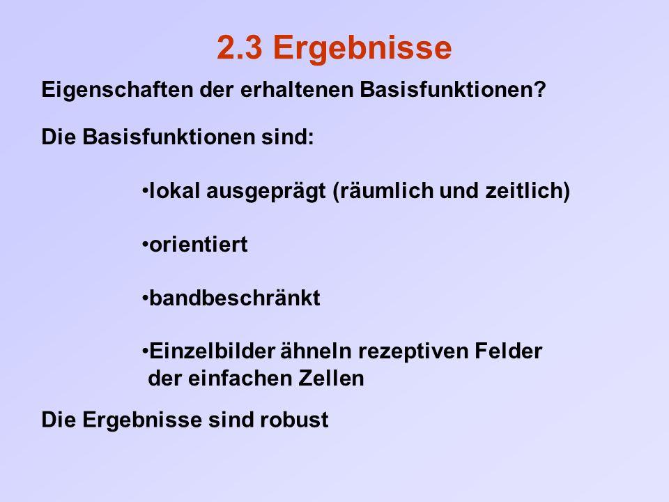 Die Ergebnisse sind robust 2.3 Ergebnisse Eigenschaften der erhaltenen Basisfunktionen? Die Basisfunktionen sind: lokal ausgeprägt (räumlich und zeitl